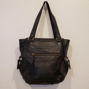 The sak black leather shoulder bag 8 pockets